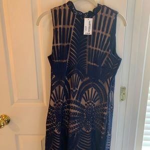 Tan and Navy Cocktail Lace dress!